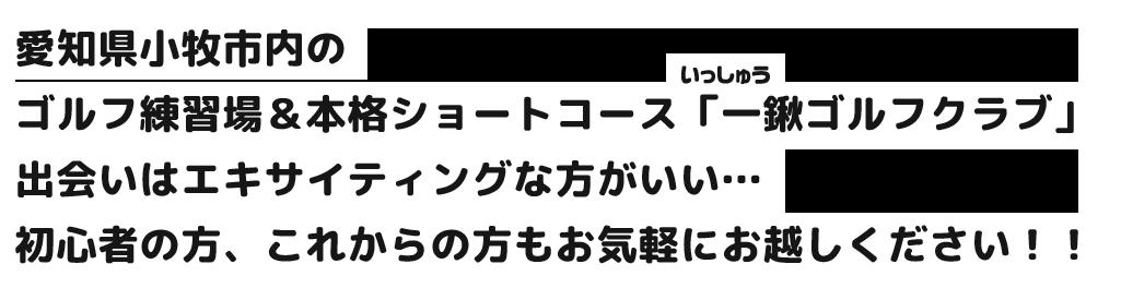 愛知県小牧市内のゴルフ練習場&本格ショートコース「一鍬ゴルフクラブ」出会いはエキサイティングな方がいい…初心者の方、これからの方もお気軽にお越しください!!